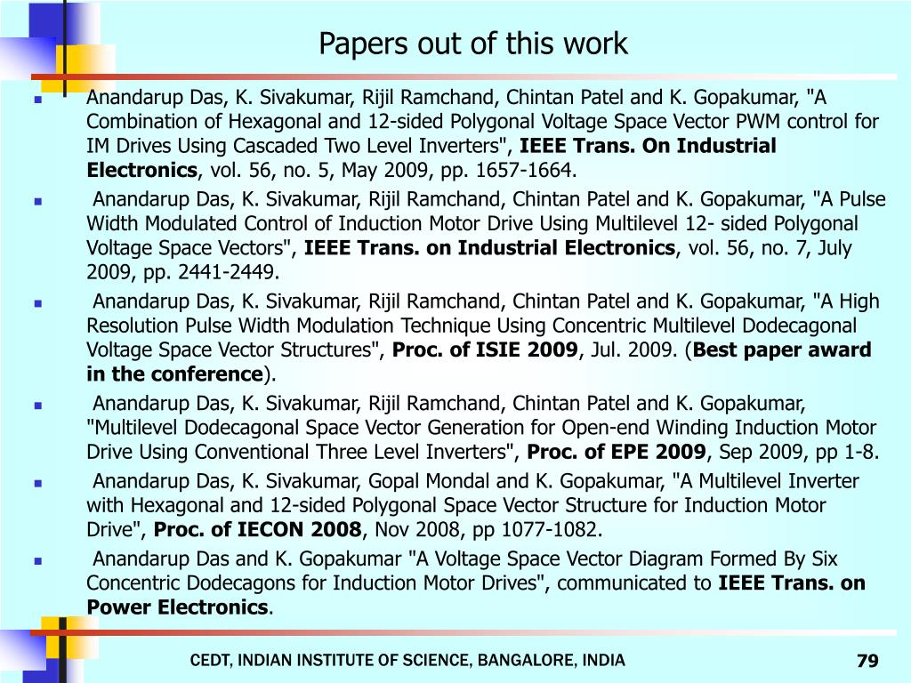 Papers out of this work