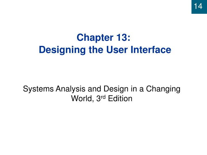chapter 13 designing the user interface n.