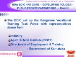 how bcic has gone developing policies public private partnership contd