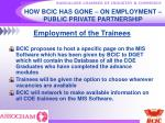 how bcic has gone on employment public private partnership