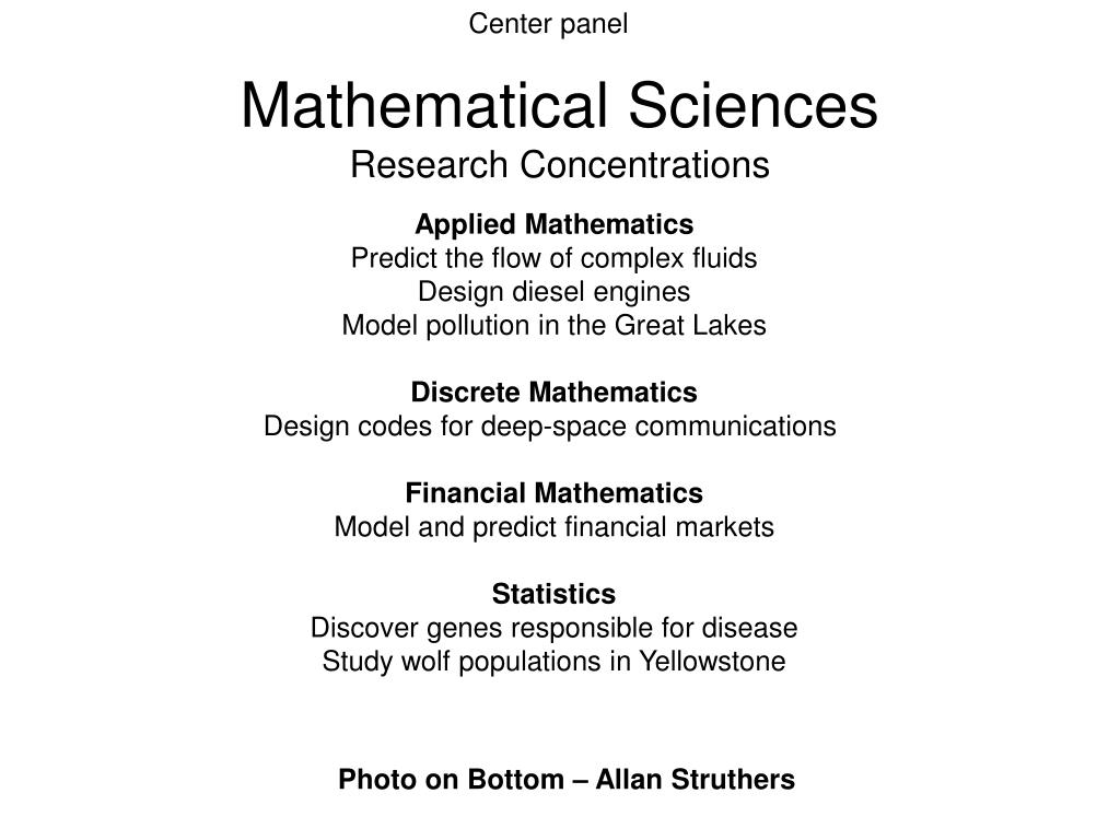 mathematical sciences research concentrations l.
