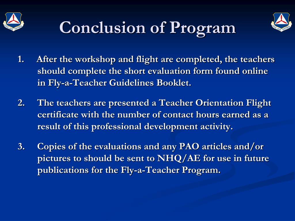 Conclusion of Program