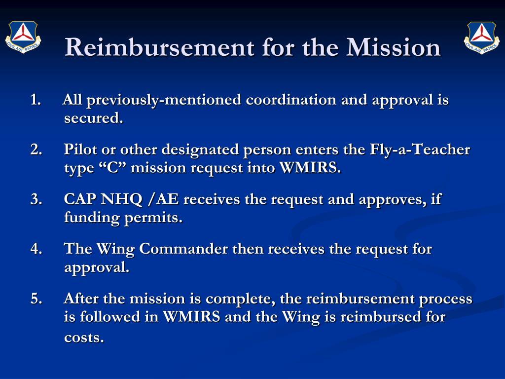Reimbursement for the Mission