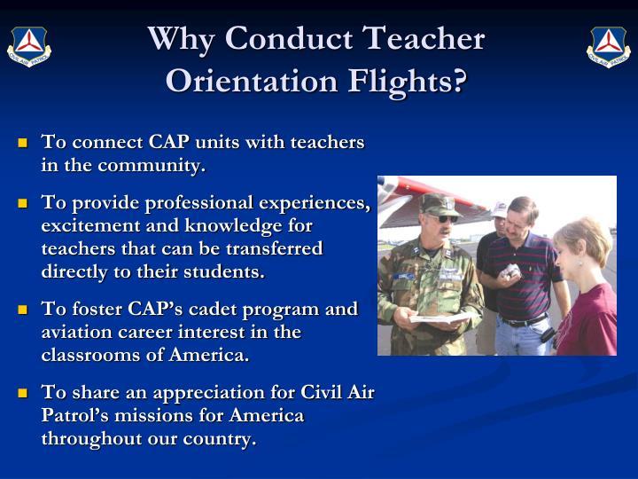 Why conduct teacher orientation flights