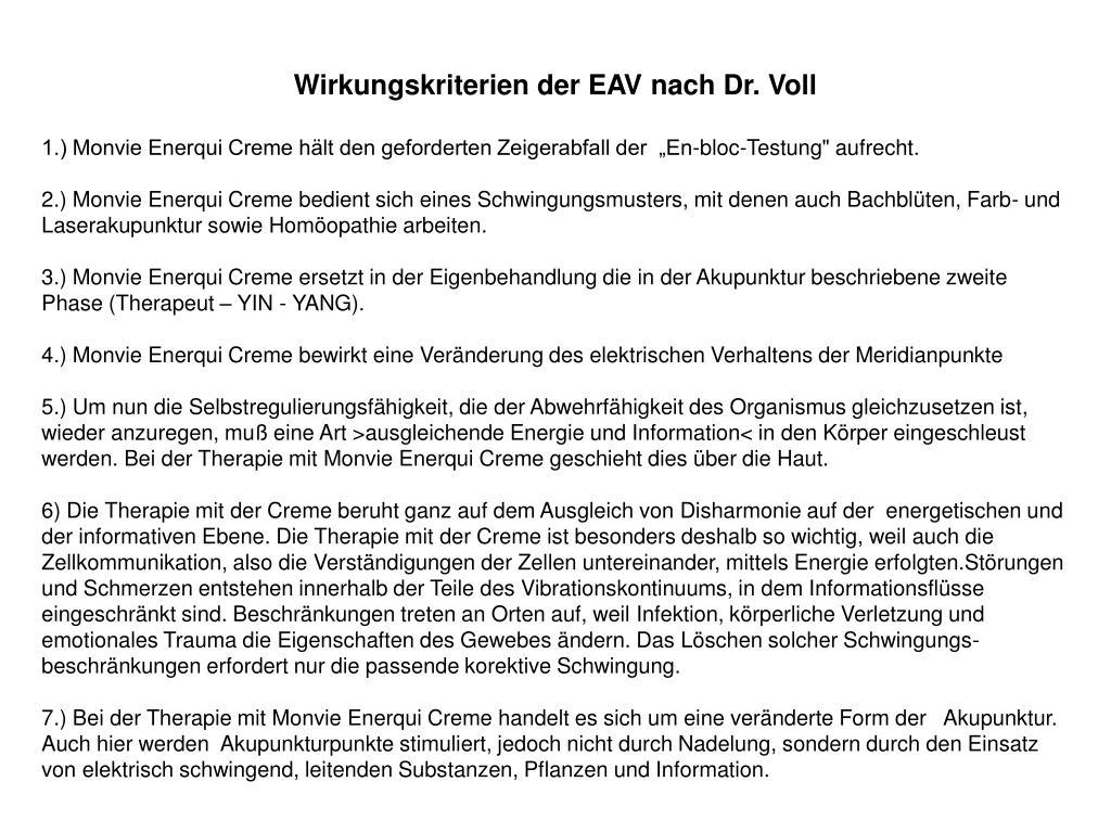 Wirkungskriterien der EAV nach Dr. Voll