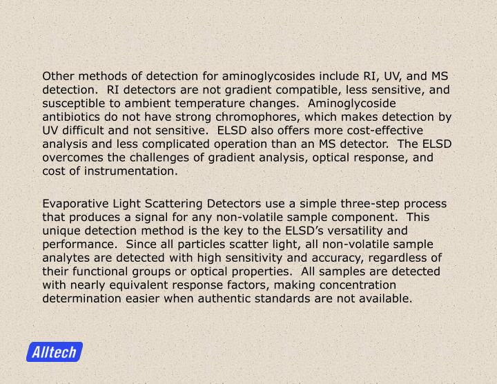 Other methods of detection for aminoglycosides include RI, UV, and MS detection.  RI detectors are n...