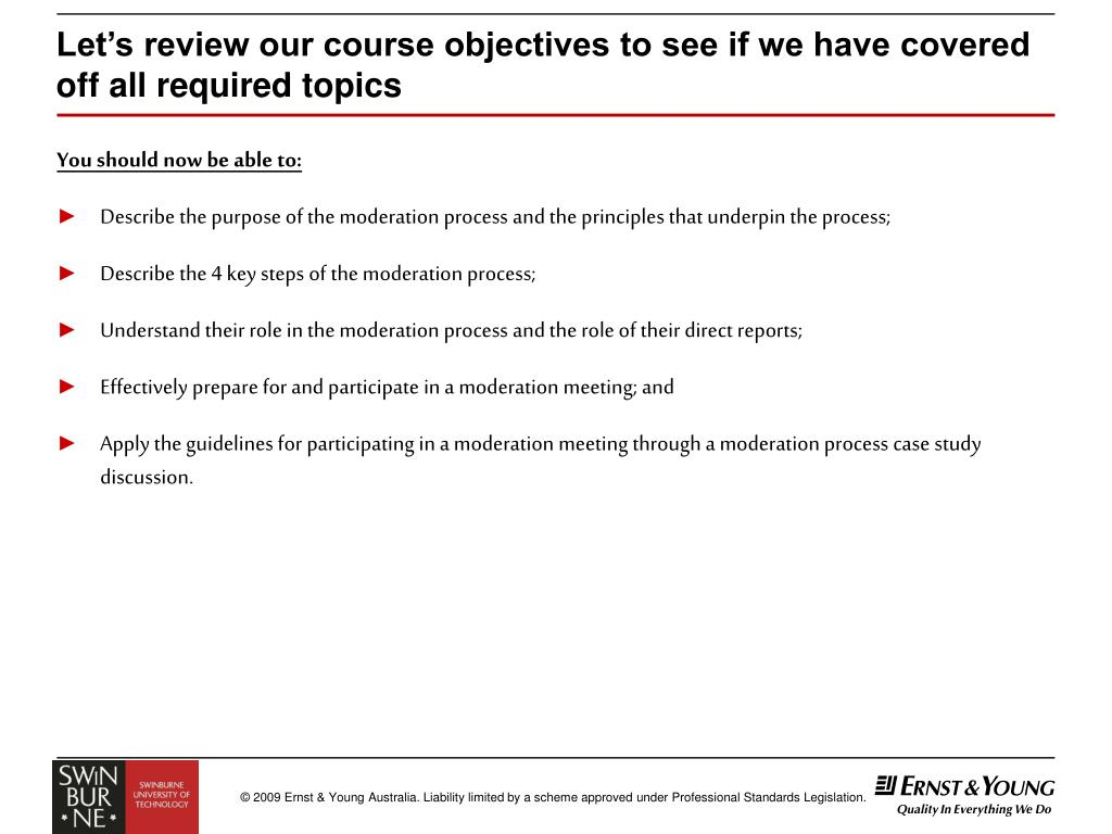 Let's review our course objectives to see if we have covered off all required topics