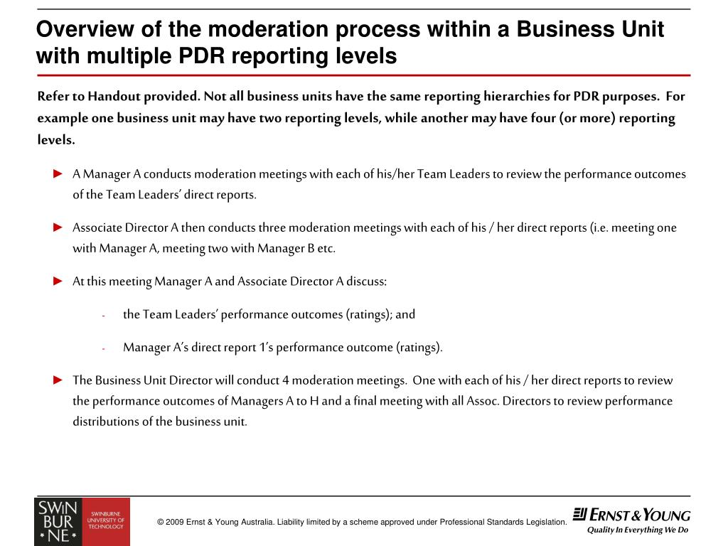 Overview of the moderation process within a Business Unit with multiple PDR reporting levels
