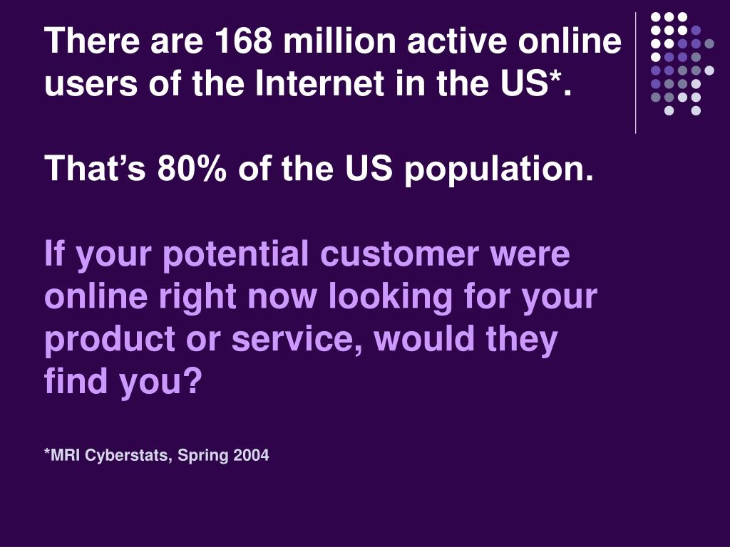 There are 168 million active online users of the Internet in the US*.