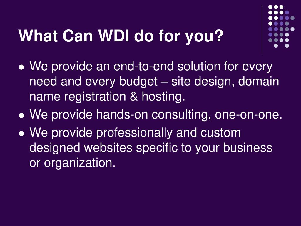 What Can WDI do for you?