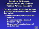 real time pcr assay detection of the e9l gene for vaccinia adverse reactions