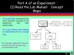 part a of an experiment 1 read the lab manual concept maps