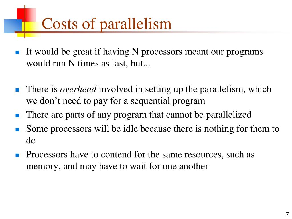 Costs of parallelism