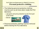 part ii behavioural requirements for gsbme pc2 laboratory personal protective clothing