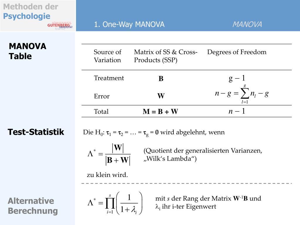 1. One-Way MANOVA