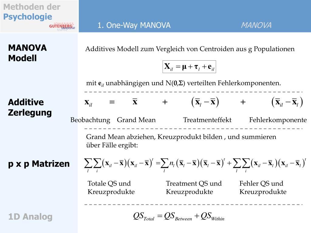 Additives Modell zum Vergleich von Centroiden aus g Populationen