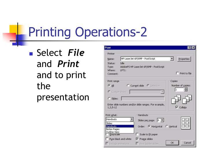 Printing Operations-2