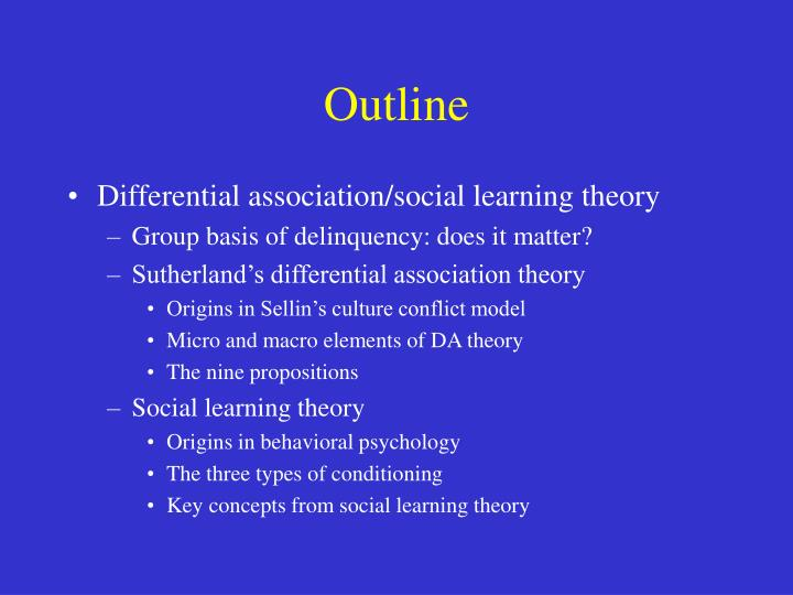 how do differential association theories best demonstrate Differential association theory, as developed by sutherland, is a learning theory that concentrates on one's associates and the normative definition thoroughly explain differential association theory and provide a detailed real-life example of the theory.