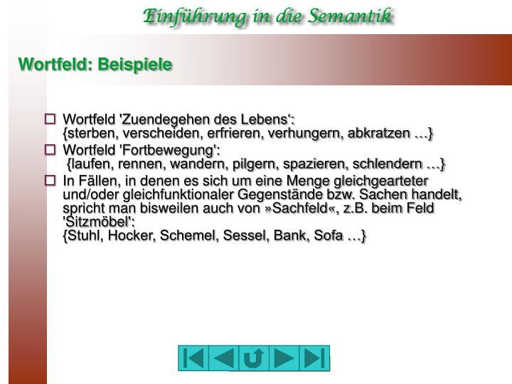 wortfeld beispiele - Wortfelder Beispiele