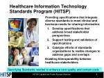 healthcare information technology standards program hitsp