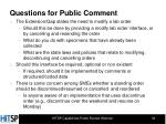 questions for public comment