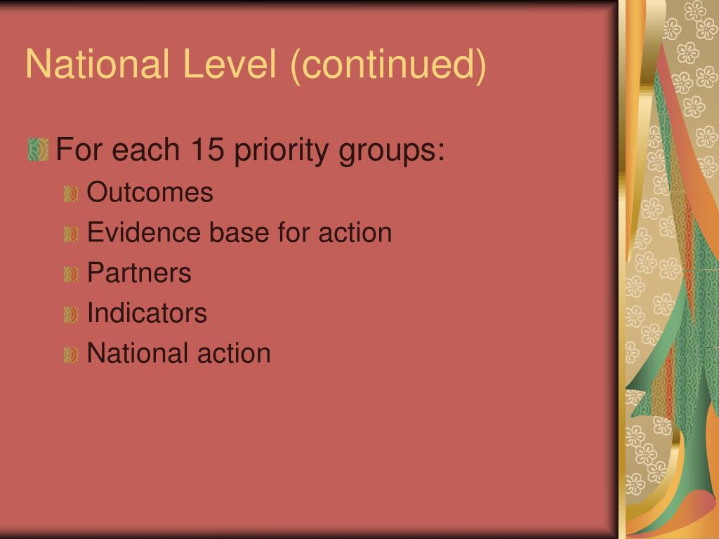 National Level (continued)