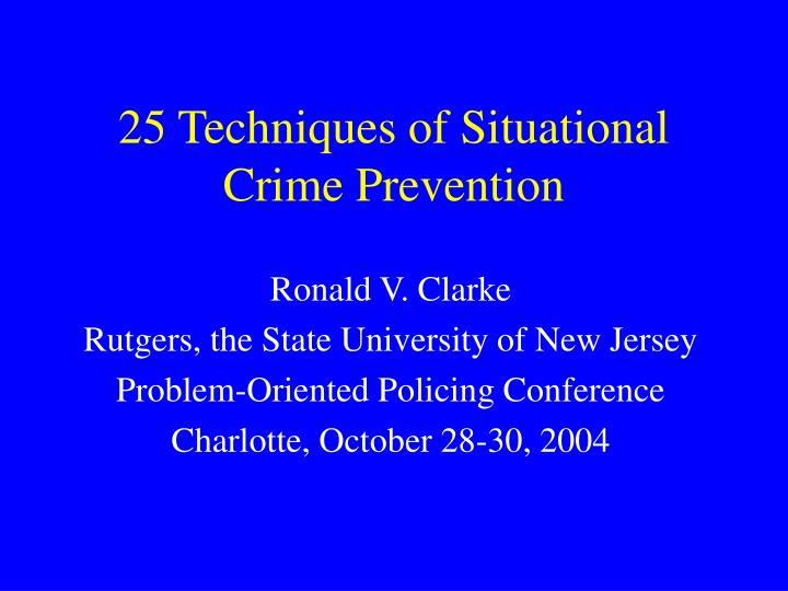 25 techniques of situational crime prevention n.