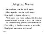 using lab manual