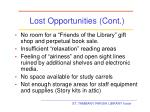 lost opportunities cont