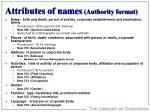 attributes of names authority format