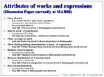 attributes of works and expressions discussion paper currently at marbi