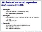 attributes of works and expressions draft currently at marbi