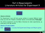 part a requirements literature articles for experiment 9