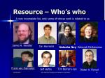 resource who s who
