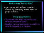 performing loved best