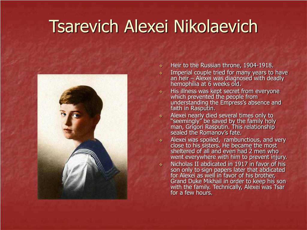 Tsarevich Alexei Nikolaevich