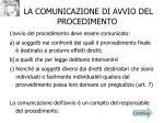 la comunicazione di avvio del procedimento