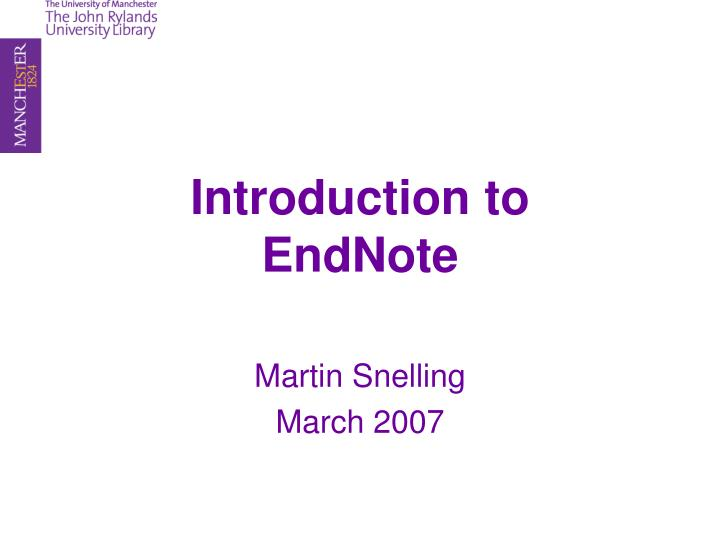introduction to endnote n.