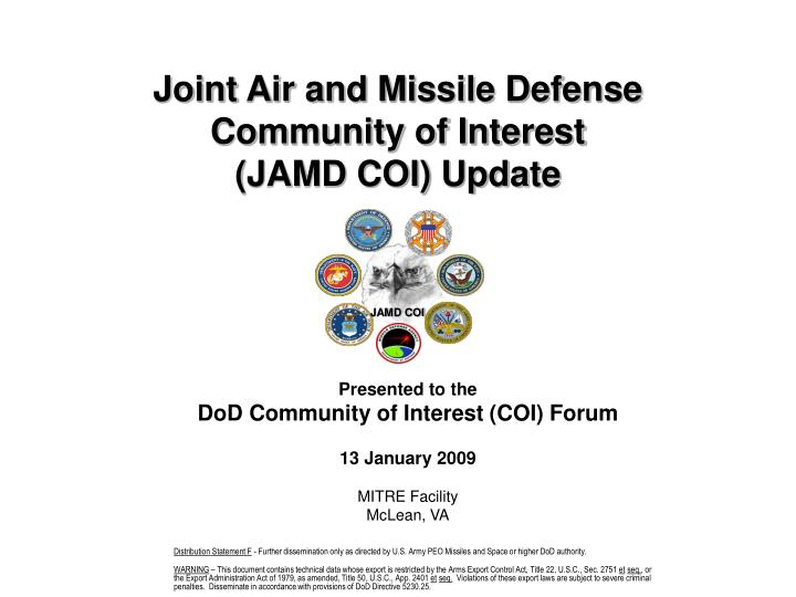 joint air and missile defense community of interest jamd coi update n.