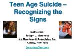 teen age suicide recognizing the signs