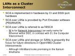 lans as a cluster interconnect