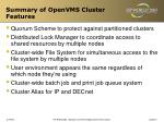 summary of openvms cluster features22