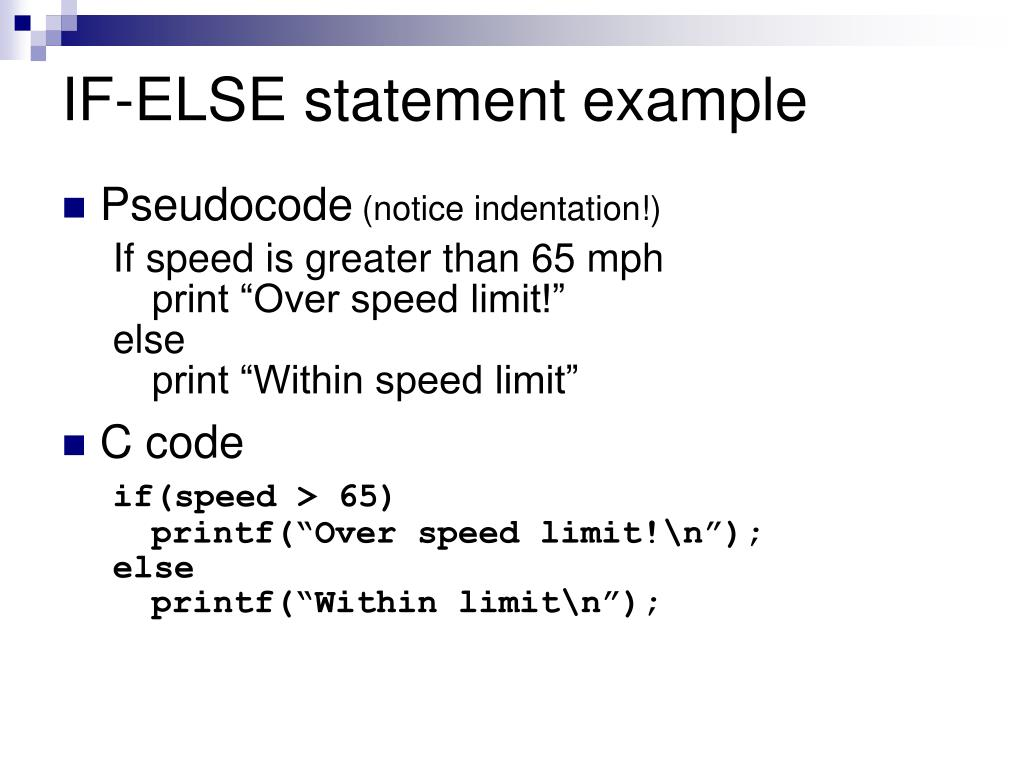 IF-ELSE statement example