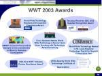 wwt 2003 awards