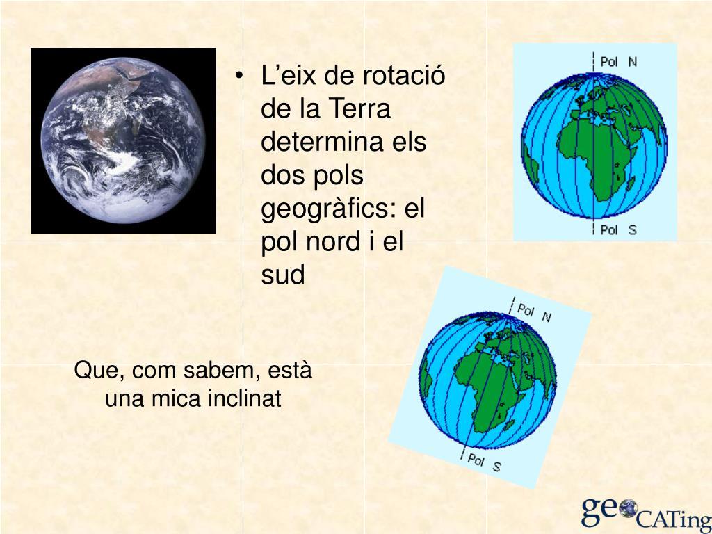 L'eix de rotació de la Terra determina els dos pols geogràfics: el pol nord i el sud