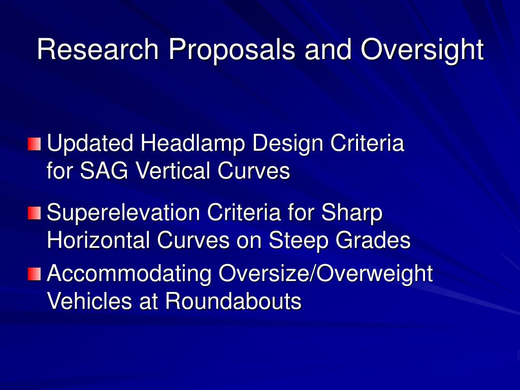 Research Proposals and Oversight