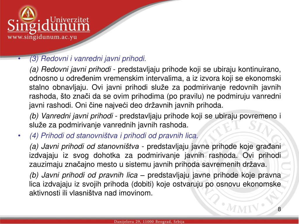 (3) Redovni i vanredni javni prihodi.