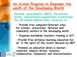 an action program to empower the youth of the developing world