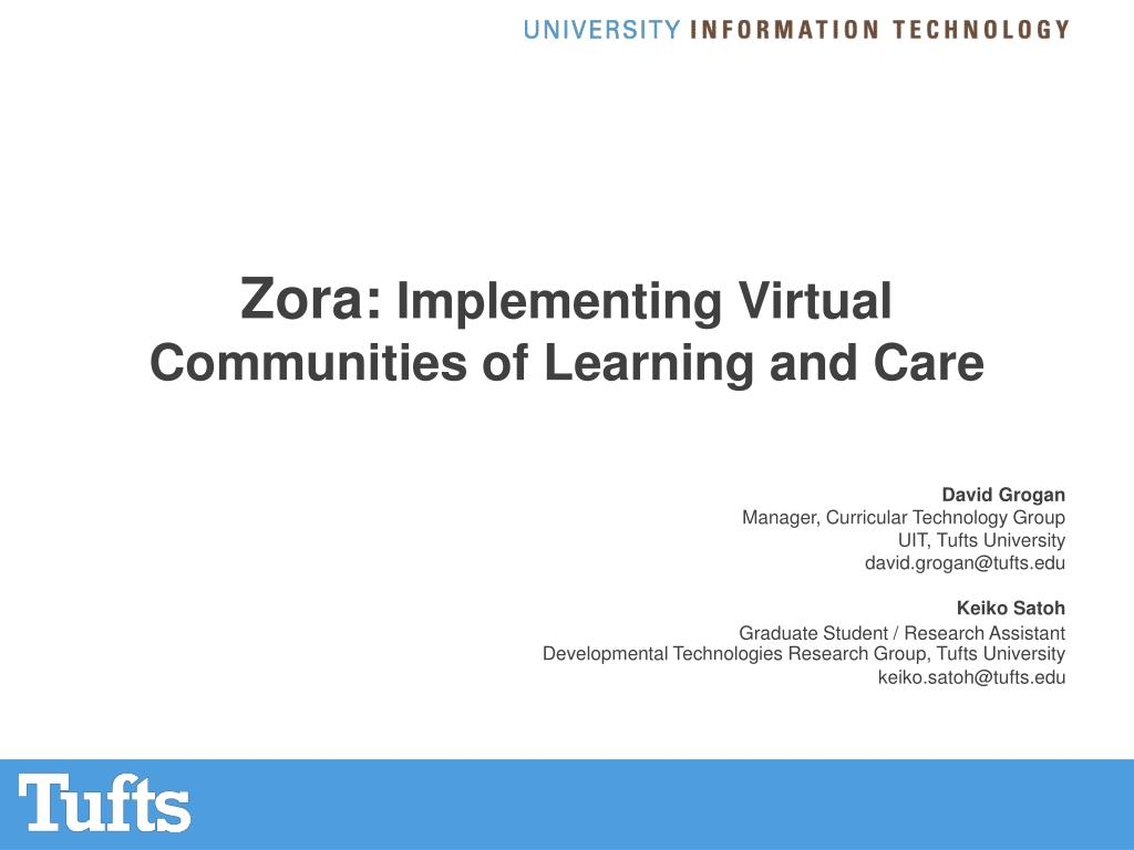 zora implementing virtual communities of learning and care l.