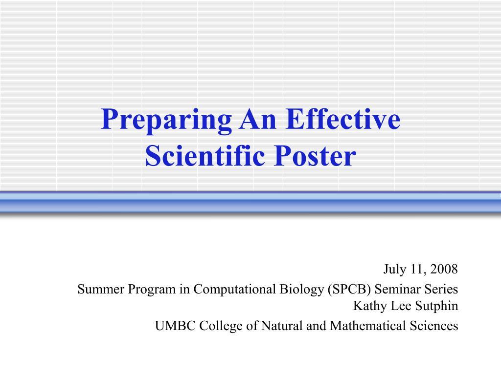 preparing an effective scientific poster l.
